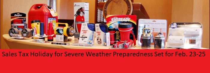 2018 severe weather sales tax holiday Feb 23-25